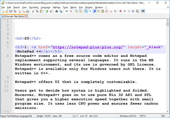 NotePad ++ Free HTML Editor