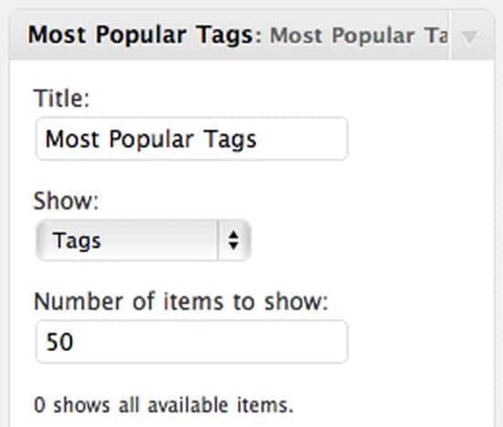 WordPress Tag Cloud Widget