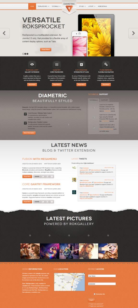 Diametric New Joomla Template by RocketTheme