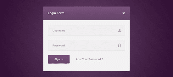 Login Form PSD