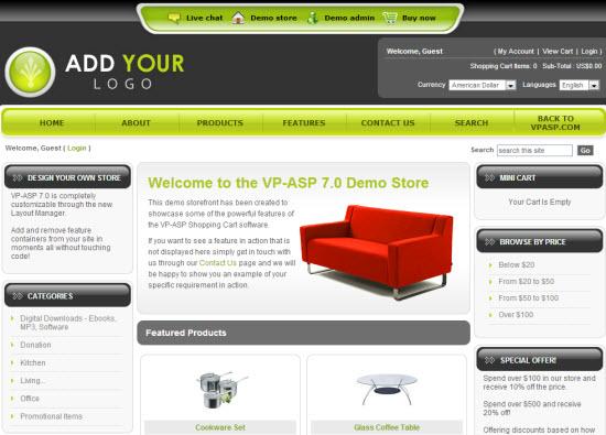 ASP Shopping Cart Software