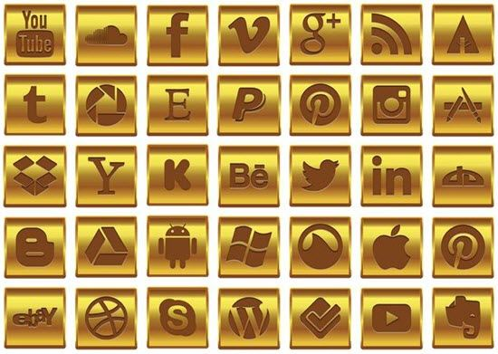 Gold Social Media Icon Set