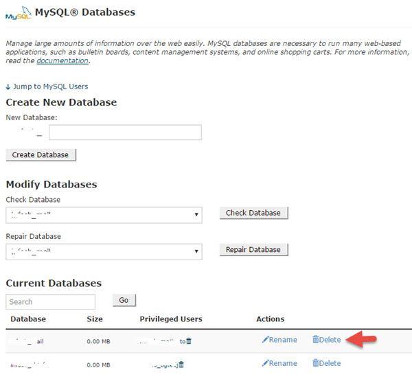 Delete WordPress Database