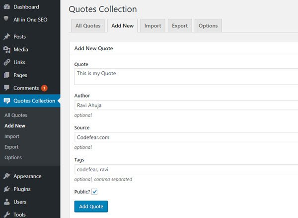 build quote library