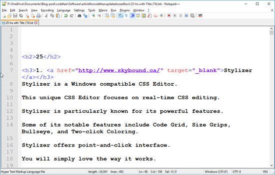 Notepad++ CSS Editors