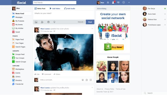 iSocial PHP Social Network Script