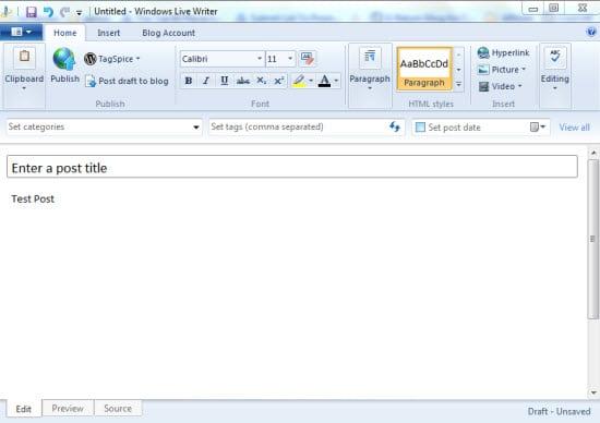 Windows Live Writer Offline Blog Editors